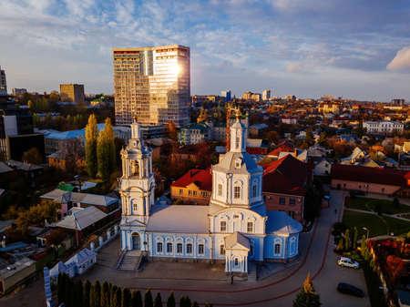 Evening winter Voronezh, aerial view from drone. Vvedenskaya church.