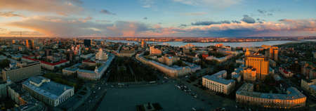 Panorama of Evening spring central Voronezh cityscape at sunset, aerial view. 免版税图像