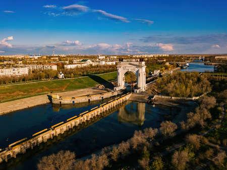 Volga-Don Shipping Canal in Volgograd, aerial view.