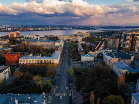 Evening spring Voronezh downtown, drone aerial view.