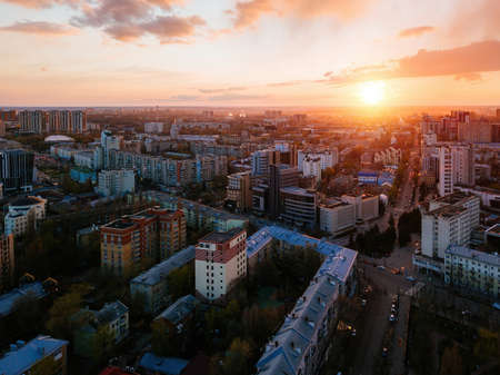 Evening spring Voronezh cityscape at sunset, aerial view.