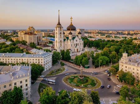 Evening Voronezh, Annunciation Cathedral, aerial drone view.