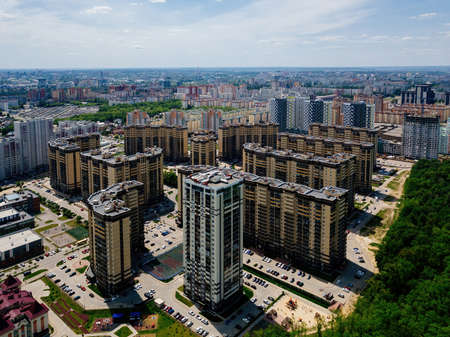 Modern residential area in Voronezh, aerial view from drone in summer day.