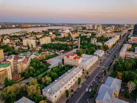 Evening summer Voronezh cityscape. Revolution Prospect - central street of Voronezh.