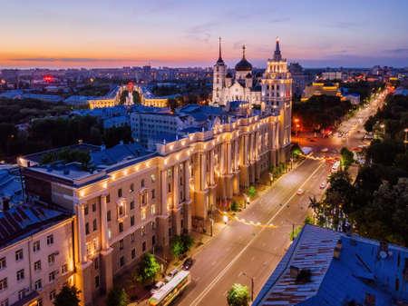 Night summer Voronezh cityscape. Revolution Prospect - central street of Voronezh. Archivio Fotografico