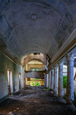 Interior of old ruined abandoned theater.