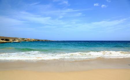 aruba: Natural beauty of Aruba. North coast Aruba Island. Amazing sand beach and blue ocean. September, 2017 Editorial