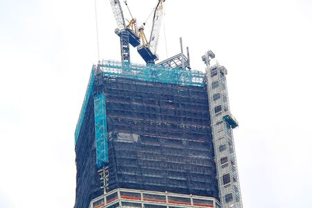 Closeup view of unfinished building of World Trade Center