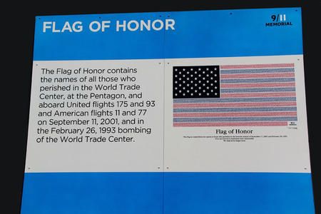 Description of the Flag of honor on 911 Memorial.New York. Editorial