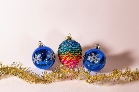 Closeup view of christmas decoration isolated on white background. Beautiful christmas backgrounds.