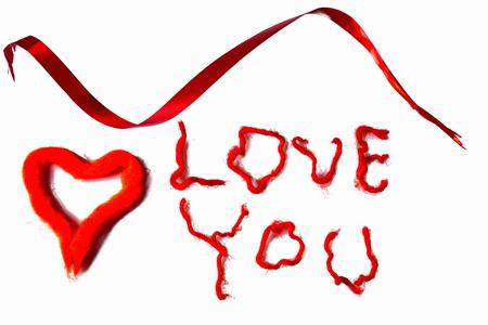Ich liebe dich Hintergrund. Rot auf Weiß. Valentinstag Hintergrund. Postkarte. Standard-Bild