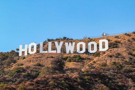 HOLLYWOOD sign on blue sky background. World famous landmark. USA. Los Angeles, California. 09-11-2012. Redakční