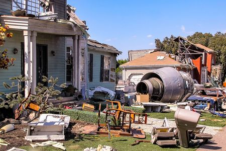 Paramount Studios Pictures Destroyed building after plane crash scene. Los Angeles, Hollywood. 09.12.2012.