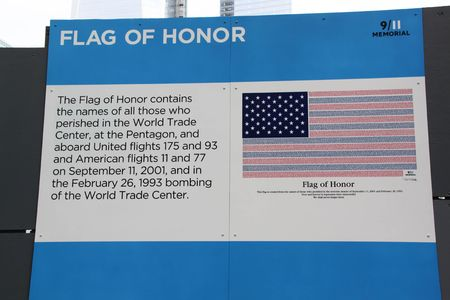 Close up view of the flagboard of 911 Memorial. 09.26.2012. New York. USA.