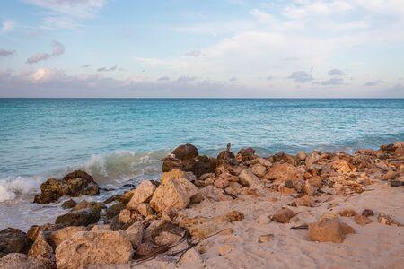 Beautiful view of coast line of Atlantic ocean on Aruba island. Gorgeous nature landscape backgrounds. Caribbean. Imagens
