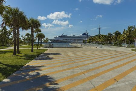 eautiful view of big cruise ship in harbor. Beautiful green palm trees in front and blue sky with white clouds on background. Key West. Florida USA 06092019 Editorial
