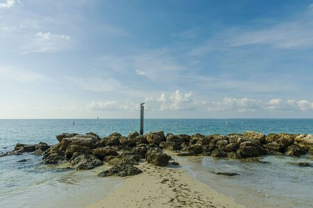 Gorgeous view of rocky coast line landscape. Atlantic ocean turquoise water surface. Key West, Florida. USA Imagens