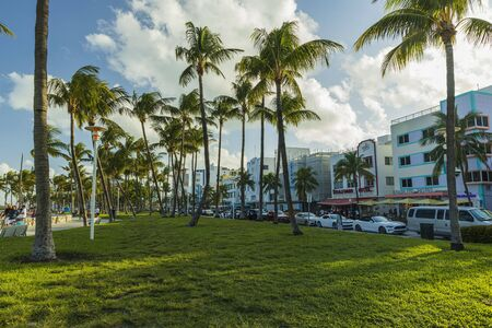 Beautiful landscape view of Miami South Beach. Buildings on one side and palm trees on another side. Blue sky and white clouds on background.USA. Miami 23092019.