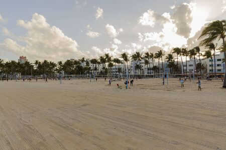 People playing beach volleyball. Healthy life style concept. Miami USA