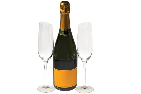 Beautiful view champagne bottle and two slim, tall and elegant champagne glasses on white background. Beautiful backgrounds. Alcohol concept.
