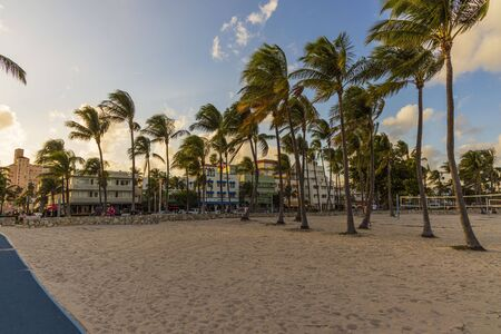 Beautiful landscape view of Miami South Beach. Buildings on one side and palm trees on another side. Blue sky and white clouds on background. 23092019.