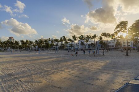 People playing beach volleyball. Healthy life style concept. Miami USA 24092019.
