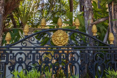 Beautiful view of black metal fence with gold decoration elements.