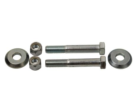 Close up macro view of steel bolts and nuts on white background.