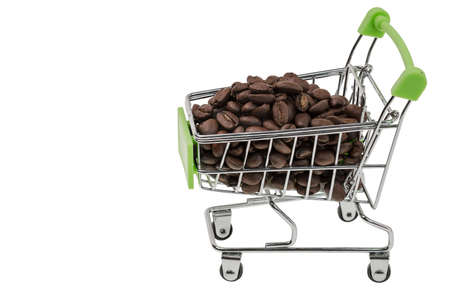 Close up view of shopping cart filled with coffee beans on white background isolated. Shopping concept. background.