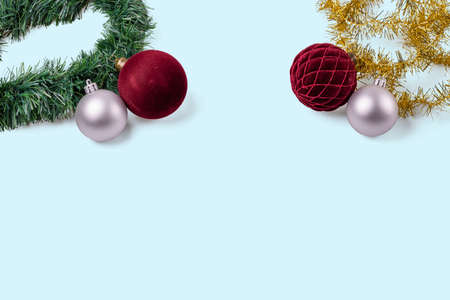 Beautiful Christmas ball decorations isolated on blue background. Postcard. Christmas and New Year holidays concept background. Stock fotó