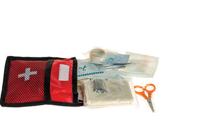 Close up view of first aid kit isolated on white background. Safety concept