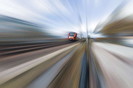 Beautiful view of speed train on blurred landscape. Beautiful backgrounds.