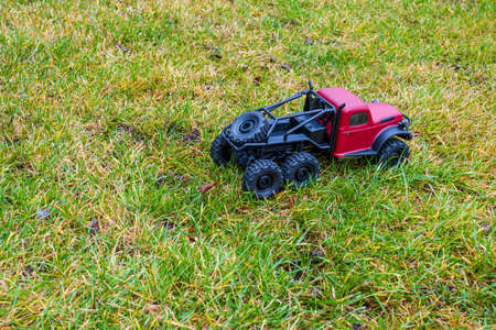 Red model car on lawn.