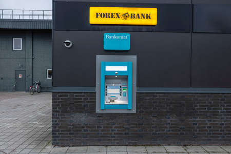 Close up view of outdoor Forex bank automat. Sweden. Europe. Uppsala. 09/01/2021. Editorial