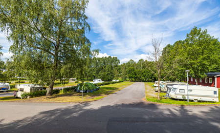 Beautiful landscape view of camping place on beautiful summer day. Aby. Sweden. Standard-Bild