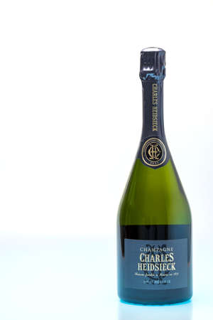 Close up view of bottle of authentic french brut champagne. Alcohol concept. Uppsala. Sweden. 01.12.2021 Editorial