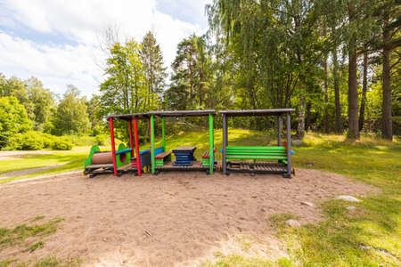 Beautiful landscape view. Modern playground with beautiful nature around. Sweden. Europe.
