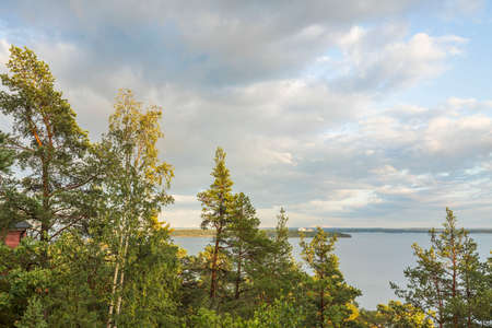 Amazing beauty on Baltic sea on blue sky with white clouds. Beautiful summer nature backgrounds. Sweden. Stok Fotoğraf