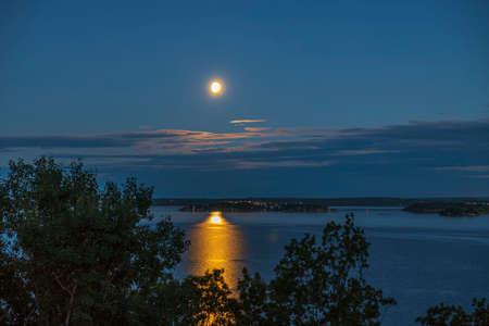 Gorgeous view of summer sunset on sea landscape. Sweden. Stok Fotoğraf