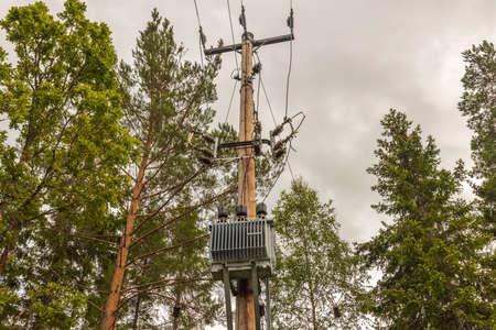 High voltage transmission line .. Gorgeous backgrounds. Sweden. Europe Stok Fotoğraf