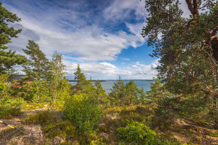 Amazing beauty on sea on blue sky with white clouds. Beautiful summer nature backgrounds. Sweden.