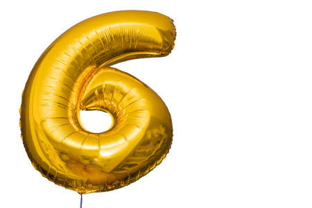 Close up view of balloon in form of number six isolated on white background