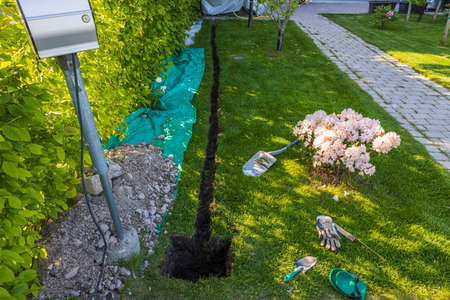 View of prepared channel for installation or electrical charging box. Sweden.