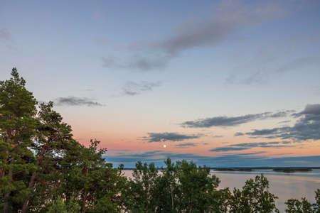 Amazing sunset on Baltic sea of Sweden. Beautiful nature landscape.