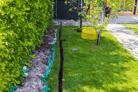 Beautiful view of prepared channel for installation or electrical charging box. Sweden.