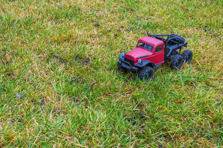 Beautiful view of RC model car. Free time Children and adults concept. Sweden.