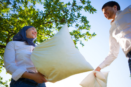 pillow fight: pillow fight Stock Photo