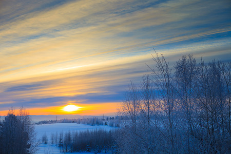 winter blues: Classic sunset Stock Photo