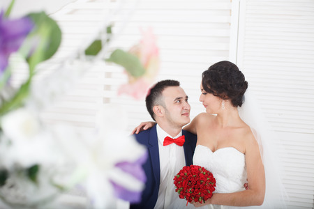 newlywed couple: A happy newlywed couple Stock Photo