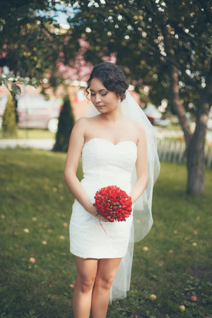 beautiful bride: A beautiful bride standing Stock Photo